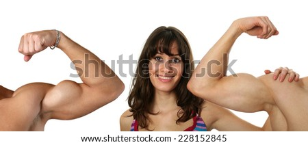 Young woman examining flexing biceps of her muscular boyfriends isolated on white - stock photo
