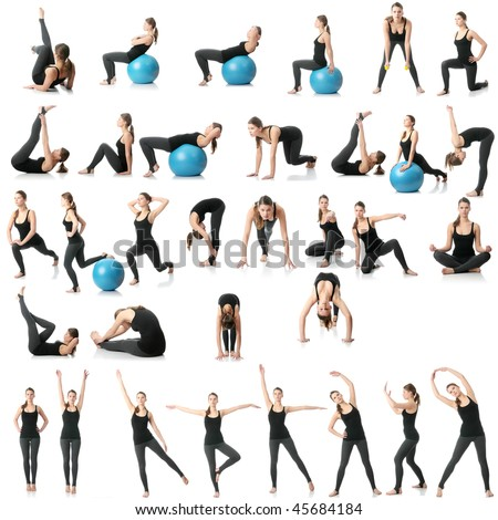 Young woman exercising collage - yoga,fitness,pilates,aerobics with dump bells and ball - stock photo