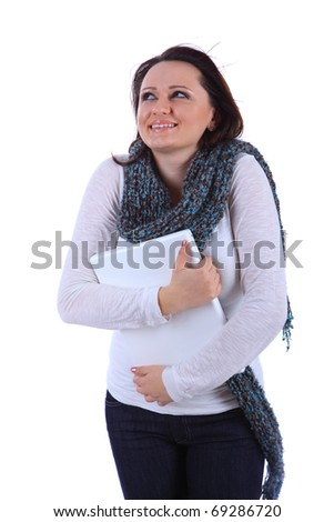 young woman exited about her laptop computer