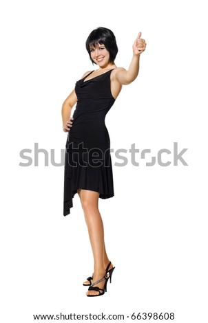 Young woman express happiness with thumb up sign. Isolated on white