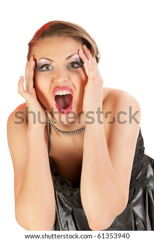 Young woman expressing surprise