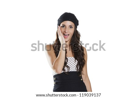 Young woman. Face expression. Isolated on white background