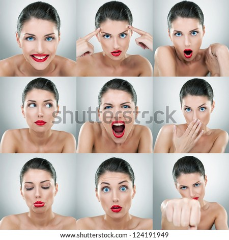 young woman face expressions composite on light gray background - stock photo