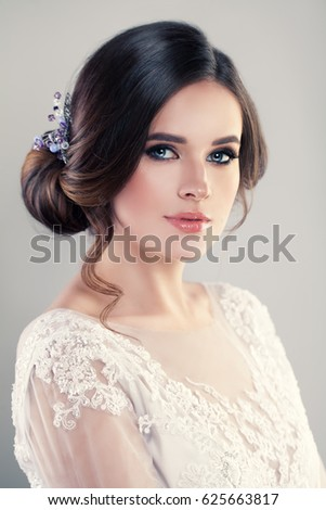 Young Woman Fashion Model Beautiful Hairstyle Stock Photo ...