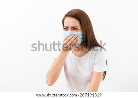 Young woman feeling unwell - stock photo