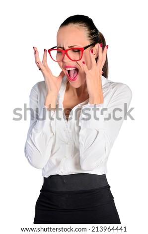 young woman feeling upset on white background - stock photo