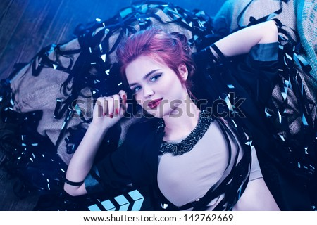 Young woman film director portrait. - stock photo