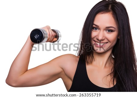 Young Woman Fitness Trainer with Dumbbells Isolated on White Background