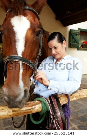 Young woman fixing harness on horse's head. - stock photo