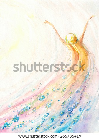 Young woman flying .Spring,nature,freedom concept.Picture created with watercolors. - stock photo