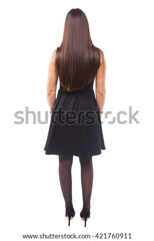 Young woman from back, isolated on white background - stock photo