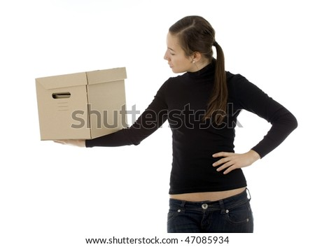 young woman from dark hair keeping cardboard box