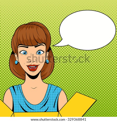 Young woman get a present raster illustration retro halftone comics style - stock photo