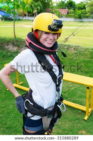 Young Woman Get Ready To Do Bungee Jump - stock photo