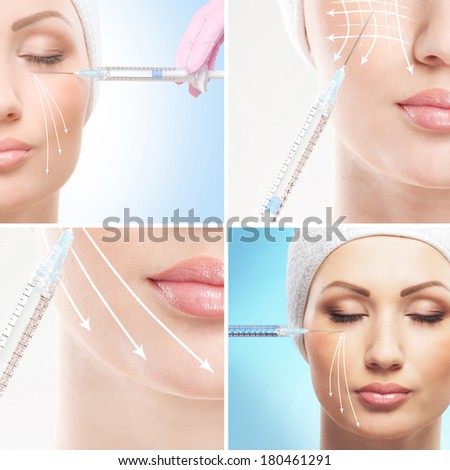Young woman getting face lifting procedure (collection of some elements) - stock photo