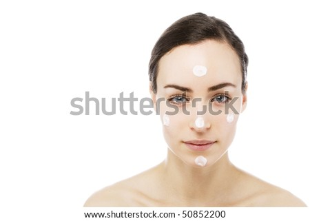 young woman getting some beauty and skin treatment - stock photo