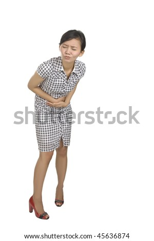 Young woman got stomach ache isolated on white background - stock photo