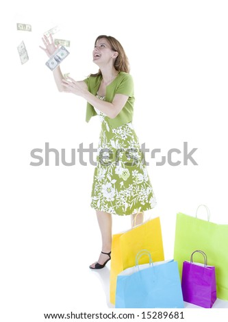 Young woman grabbing for money.