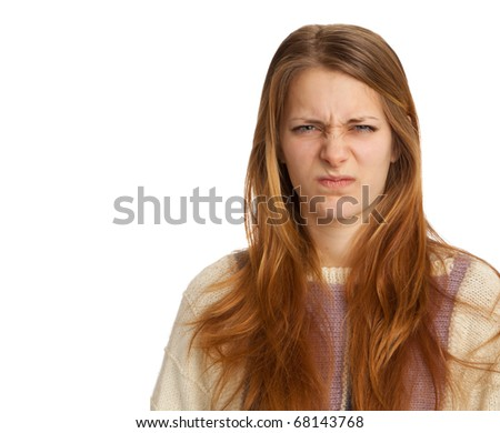 Young Woman Grimacing - stock photo