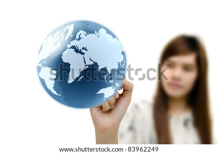 Young woman hand drawing earth globe. - stock photo