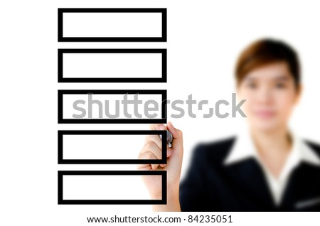 Young woman hand drawing plan on a clear screen, add your own text or drawing. - stock photo