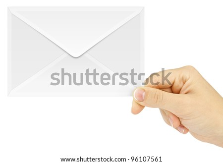 Young woman hand holding an mail envelope isolated on a white background