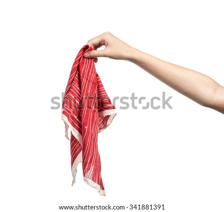 Young woman hand holding handkerchief isolated - stock photo