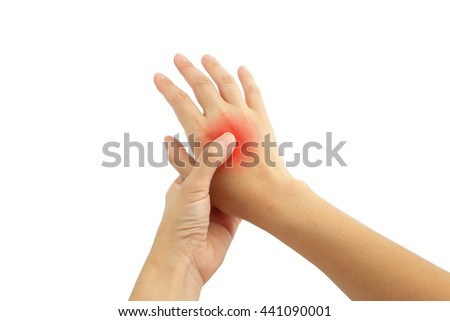 Young woman hand pain with red alert accent isolated on white background - stock photo