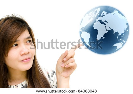 Young woman hand pointing earth globe. - stock photo