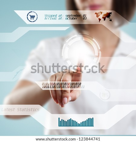 Young woman hand pressing digital button - stock photo