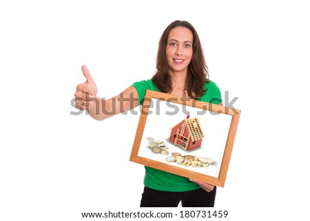 Young woman happy about her new home being financed - stock photo