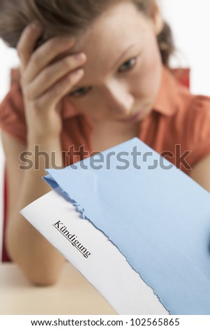 Young woman has received dismissal - stock photo