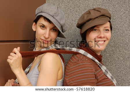 young woman have fun outdoor - stock photo