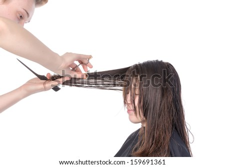Young woman having a hair cut with a hairdresser trimming her fringe on her long brunette hair, isolated on white