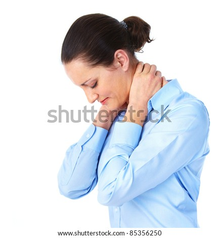 Young woman having a head ache. Stress. - stock photo