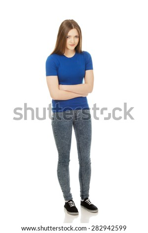 Young woman having a stomach pain. - stock photo