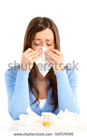 Young woman having flu or allergy. Isolated over white background - stock photo