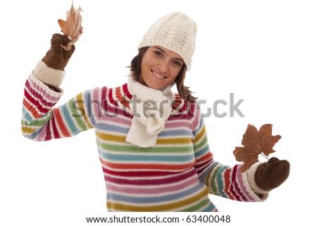 young woman having fun at the autumn season (isolated on white) - stock photo