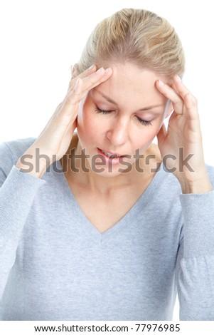Young woman having head ache. Migraine. Health. - stock photo