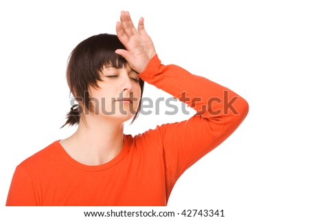 Young woman having some headache. Full isolated studio picture - stock photo