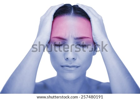 Young woman having strong headache on white background - stock photo