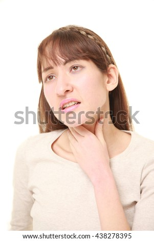 young woman having throat pain