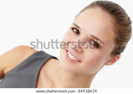 Young woman head and shoulders - stock photo