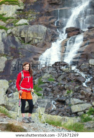 Young woman hiker - stock photo