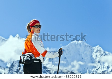 Young woman hiker hiking in Mount Everest National Park, Nepal - stock photo