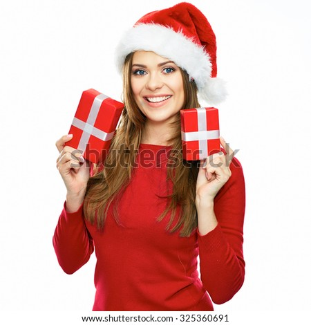 young woman hold two presents. santa girl with gifts box. isolated white background female portrait. - stock photo