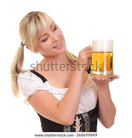 Young woman holding a beer on white background - stock photo
