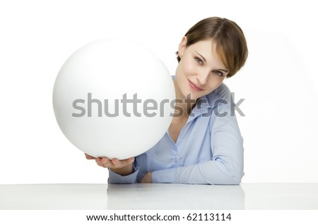 young woman holding a blank globe for text and symbols - stock photo