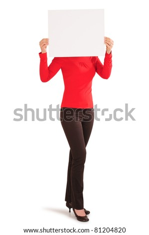 Young Woman Holding a Blank White Sign. Isolated - stock photo