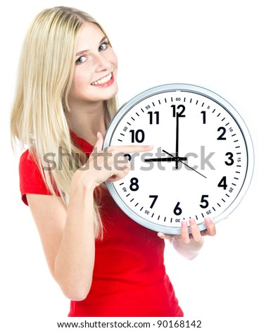 young woman holding a clock. time management concept. nine o`clock - stock photo